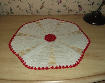 Crocheted Red and White Doily