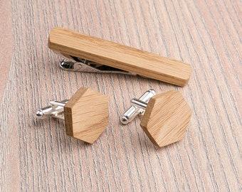 Wooden tie Clip Cufflinks Set Wedding Oak Hexagon Cufflinks. Wood Tie Clip Cufflinks Set. for him Boyfriend gift,  Groomsmen Cufflinks set.