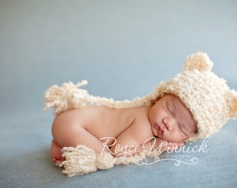 Bear Baby Girl Crochet Hat  and Photography Prop Ready Item