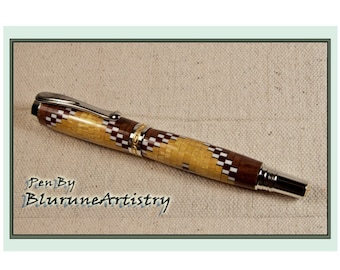 Custom Handcrafted Pen - Rollerball Pen - Rhodium/22k Gold Accents and Segmented Woods - #189