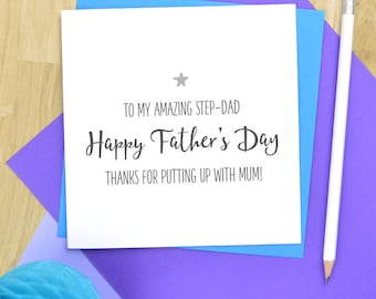 Funny Step Dad Fathers Day card - Fathers day card for stepdad, step dad card, stepdad fathers day card - putting up with Mum