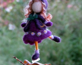 Needle felted ornament Christmas ornament Waldorf inspired Winter ornament Romantic gift Ice skating
