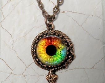 "Snake Eye Necklace - Colorful Cat's Eye in Copper Snake Bezel - 24"" Oval Link Chain - Coiled Snake Necklace"