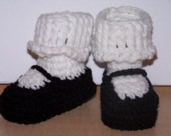 Baby Booties Mary Jane Booties, Hand Crochet Baby Shower Gift, Black and White