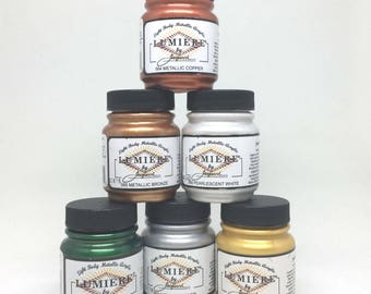 Jacquard Lumiere 6 Colour Starter Pack - Light Body Acrylic Paint - 70ml - Textile Paper Clay