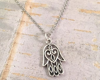 Hamsa charm necklace  Fatima hand charm   stainless steel necklace   hand charm necklace   Hand charm   for her   good luck necklace