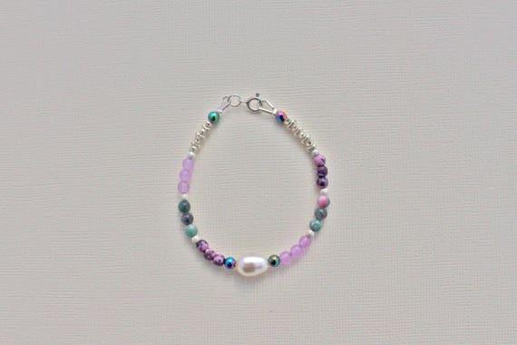 bracelet mariage pierres fines : Jade lavande, jaspe kiwi rose, jade candy, rainbow hématite  et argent 925