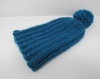 Handcrafted Knitted Hat Beanie Teal Pom Pom 100% Merino Wool Female Adult