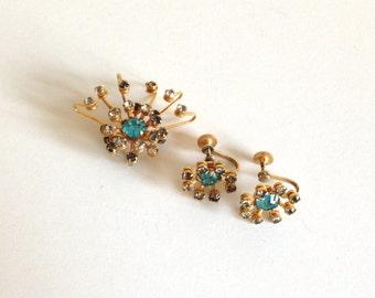 Vintage Bugbee & Niles Starburst Rhinestone Brooch and Earring Set