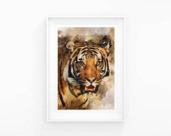Tiger Watercolour A3 Print