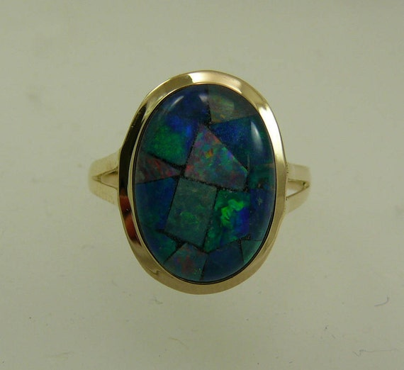 Mosaic 9.8 mm x 13.9 mm Opal Ring With 14k Yellow Gold