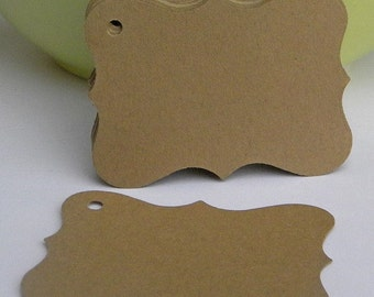 500 bracket tags in kraft card stock -gift tags - wedding favor tags - blank tags
