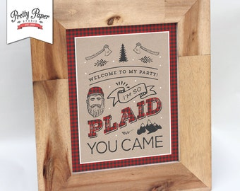 Welcome Sign - Lumberjack Birthday Party  // INSTANT DOWNLOAD // Buffalo Plaid Decor // Red & Black Plaid // First Birthday / Printable BP08
