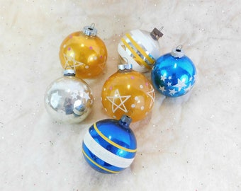 Shiny Brite & US of A, 6 Vintage Glass Christmas Balls, Christmas Tree Ornaments, Blue and Gold, Stenciled Stars, Stripes, C68