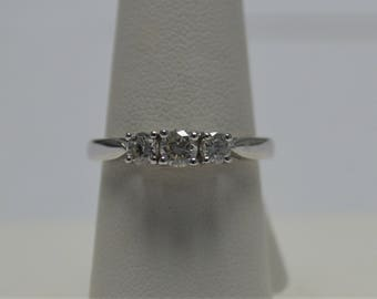 Estate Three Stone Platinum Diamond Ring