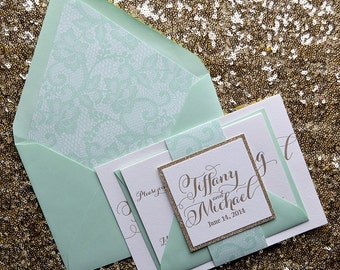 Mint & Gold Lace Letterpress Wedding Invitation, Lace Wedding Invite, Calligraphy Invitation, Mint Invitation - Sample Set