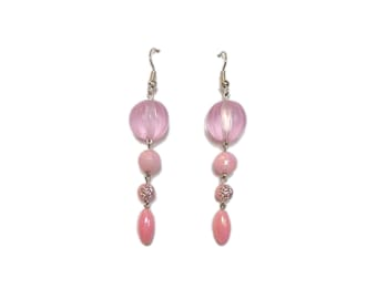 Long pink earrings - 5 cm