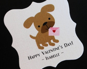 20 Personalized Valentine Tags - Candy Tags - Valentine's Day Tags - Party Favor Tags - Brown Puppy Dog Pink Valentine - 2 X 2 Square Tags