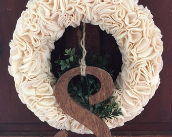 Cream Felt Wreath