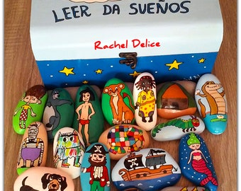 Reading gives dreams. Pack of 17 stones to invent stories + hand-painted wooden box