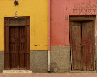 Old Doors Photo, Coral, Large Art Print, Colorful Houses, Spain, Fine Art Photography, Travel, Wanderlust, Minimal, Rustic, Retro, Earth