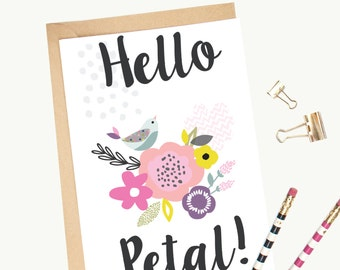 Birdie 'Hello Petal' Greeting Card/Illustrated/Floral/Blank
