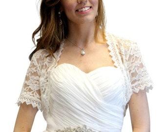 Memorial Sale Bridal Lace shrug, Ivory bridal Lace Jacket, Ivory bridal lace bolero, Wedding Jacket 720SLJ-IVY