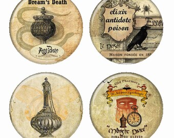 Dreams Death Elixers Antidotes Poison Magnets or Pinback Buttons or Flatback Medallions Set of 4