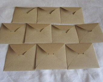 "10 Mini Square Brown Envelopes - Brown Square Kraft Envelopes - Recycled Mini Envelopes - Little Envelopes - 3 1/8"" x 3 1/8"""
