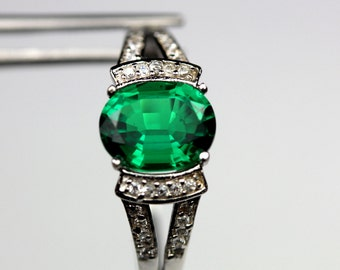 Stately Emerald Green Nano Crystal Oval in Elegant Sterling Accented Ring