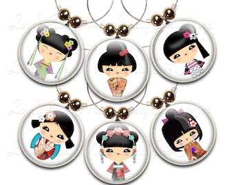 Wine Glass Charms, Kokeshi Doll, Set of 6, Kokeshi Doll Charm, Wine Glass Jewelry, Wine Charm, Wine Glass Charm, Japanese, Oriental, Asian