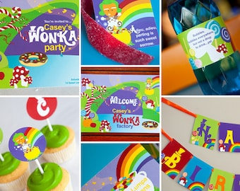 Willy Wonka Birthday Party Theme - Instantly Downloadable and Editable File - Personalize and Print at home with Adobe Reader