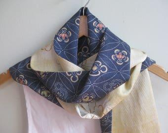 Denim blue and pale yellow silk scarf, recycled Japanese kimono fabrics