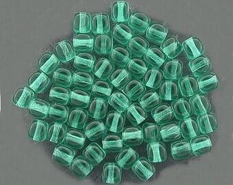 36 green  czech glass cube beads 4mm