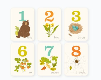 Counting flash cards - Woodland Forest numbers Nursery wall decor