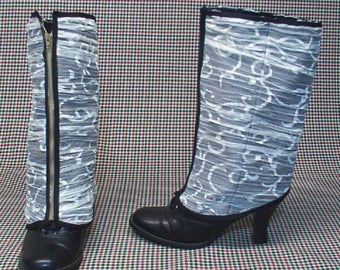 Steampunk Spats Costume Boot  black cotton white lace    cosplay LARP zipper  leg warmers Geechlark r72