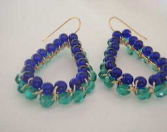 Teardrop wire wrapped beaded earrings with cobalt and teal beads