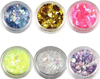 6 bottle set glitter foil plastic nail art decoration small pc colorful GF0520