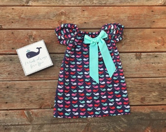 Girls Nautical Whale Print Summer Dress Navy Red Pink Aqua with Bow 6 12 18 24 2 3 4 5/6 7/8 9/10 4th of July Independence Day Dress