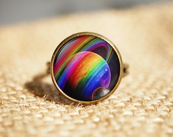 Space Rainbow Ring,Gay Pride Ring Jewelry,LGBT Gift,Adjustable ring, Rainbow jewelry
