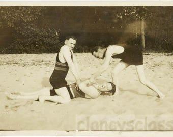 vintage photo 1929 Swimsuit Men Prank Haze Man torture Scream Odd
