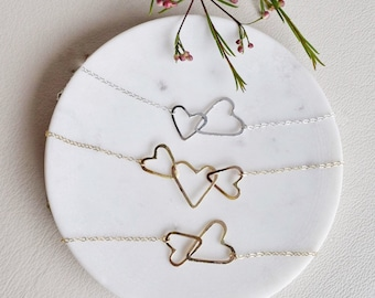 Scattered Hearts Collection, Heart Necklace, Interlocking Heart Necklace, Connecting Hearts Necklace, Gold Heart Necklace, Silver Heart