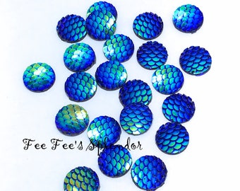 Set of 10 pcs - Mermaid scale cabochon- Resin flatback- Dragon scales- 12 mm Iridescent gem- Dark Blue fish scales