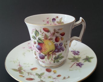 Royal Chelsea Teacup, Saucer, Bone China, Fruit Design, 1940s, Wedding Gift, Bridal Shower Gift, Birthday Gift ,Vintage