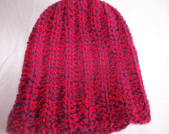 Hand Crocheted Navy and Red Twist Slouch Hat
