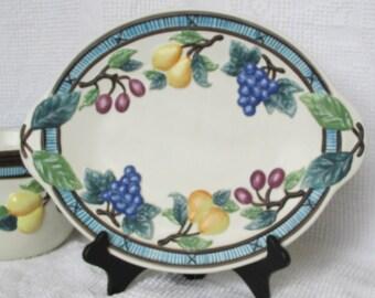 Vintage Mikasa platter in Garden Harvest pattern shabby cottage chic farmhouse decor tray