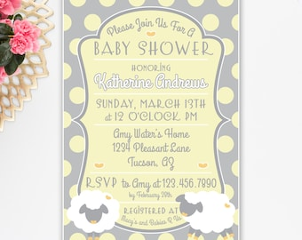 Little lamb baby shower invitation floral lamb invitation little lamb baby shower invitation printable yellow and gray polka dot gender filmwisefo Choice Image