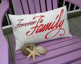 """Outdoor pillow FOREVER A FAMILY 12""""x20"""" (30x50cm) LDS hand painted reunion brother sister cousin parents grandparents Crabby Chris Original"""