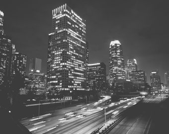 Downtown Los Angeles Photographic Print in Black and White - City Scape, Skyscraper, Urban Art, Night Photography, Fine Art, Wall Art