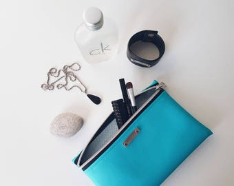 ninaluba Cosmetic BAG / Turquoise / Gaby / Faux Leather / Silver Patina / Logo / Decorative Zipper